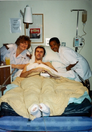 One of the few pictures of Edward in hospital - taken on NYE 2002